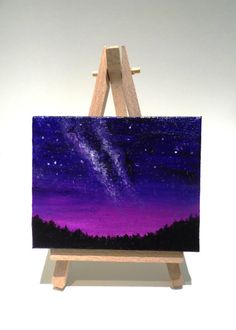 Mini canvas with easel acrylic painting with night skies and Milky Way