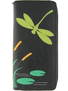 Designed by LAVISHY, made with durable vegan/faux leather and decorated with adorable dragonfly on the front cover. This large size wallet is super fun and functional !It has :- 1 photo ID pocket- 12 card slots- 1 carry-change pocket in the middle- 1 full zipper closureMeasurement : 10 x 20 x 2.5 cm