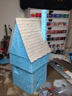 Fantasy building built using insulation foam board cut and scored with detail.  by Rich Goss