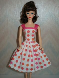 Handmade Barbie clothes - White with pink and orange dots dress