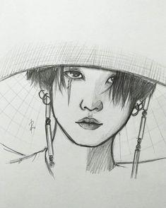 Kpop Drawings, Pencil Art Drawings, Art Drawings Sketches, Portrait Au Crayon, Wie Zeichnet Man Manga, Anime Wolf, Bts Chibi, Kpop Fanart, Foto Bts