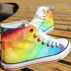 Hand-painted rainbow gradient Harajuku Star high-top canvas shoes