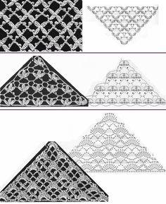 Crochet patterns for shawls Crochet Motif Patterns, Crochet Diagram, Crochet Chart, Crochet Squares, Love Crochet, Crochet Designs, Crochet Lace, Shawl Patterns, Poncho Au Crochet