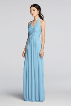 This fan-favorite long halter bridesmaid dress stands out with a  thoughtfully pleated crisscross bodice and shoe-skimming mesh skirt. f47556fcf817