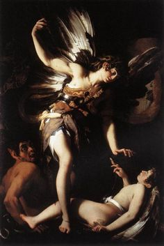 """""""Sacred and Profane Love"""" by Giovanni Baglione, 1602–1603, showing dramatic compositional chiaroscuro (one of the 4 canonical painting modes of the Renaissance...the other 3 being Sfumato, Unione and Cangiante). Chiaroscuro in art is the use of strong contrasts between light and dark, usually bold contrasts affecting a whole composition. Similar effects in cinema and photography also are called #chiaroscuro."""