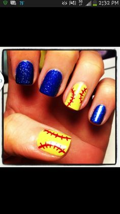 Softball nails. I did this for Riley but painted the nails red!!