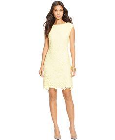Lauren Ralph Lauren Petite Lace Cap-Sleeve Dress - Dresses - Women - Macy\u0027s
