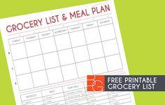 Grocery List and Meal Plan Printable