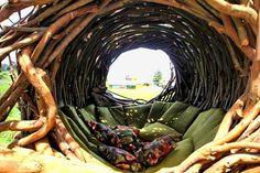 posezení v hnízdě z vrbového proutí