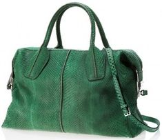 82edbe8bc566 Tods D-Styling Medium Bag in green python. Went into a Tods store in Japan  and it was awesome. Finally got to touch some of the luxurious leather.