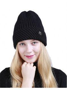 Knitted Stripes Fashion Curling - Black - CG187R0653G - Hats  amp  Caps d577a08efc9d