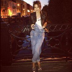Miroslava Duma #diva #jumpsuit #leatherjacket #jeans