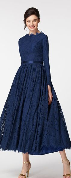 Vintage modest mother of the bride dress long sleeves navy blue mother of the groom dress plus size