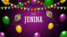Festa Junina poster with paper lanterns and paper garlands on purple background, vector illustration Included files: .