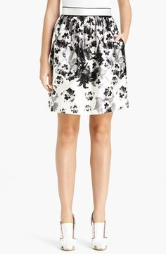 $1,125, Prabal Gurung Pansy Print Satin Skirt Black White 8. Sold by Nordstrom. Click for more info: https://lookastic.com/women/shop_items/121152/redirect