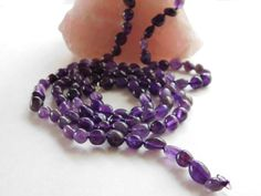 Long Amethyst Bead Necklace Long Amethyst Knotted by PetitDepot