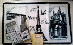 Paris Eiffel Tower Fabric Shower Curtain and Hand Carved Bath Mat #PopularBath #Modern