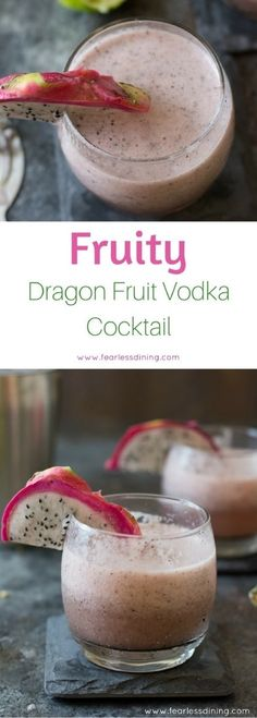 Deliciously fruity dragon fruit vodka cocktail. Wow your friends with this pink, fruity cocktail recipe. Dragon fruit is such a pretty garnish on the glass too! What to do with dragon fruit. via @fearlessdining