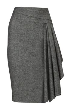 Pencil Skirt With Front Twisted Wrap Detail