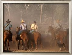 A Group of Stockmen Mustering Cattle on New Dixie Station, Queensland, Australia Photographic Print by Oliver Strewe at Art.com