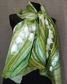 Bridal scarf. White + olive, mint, light green hand painted silk scarf: Lily of the Valley flowers. Tender elegant one-of-the-kind art scarf, Etsy