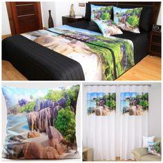 Dekoračný set do spálne s plážou pri brehu mora a s tropickým lesom Bed, Table, Furniture, Home Decor, Stream Bed, Tables, Home Furnishings, Beds, Home Interior Design