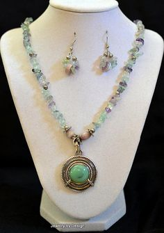 Lilac purple and green stones