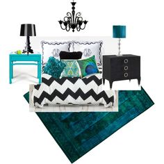 black white and turquoise bedroom