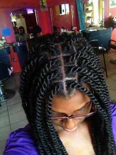 medium sized waist-length marley braids