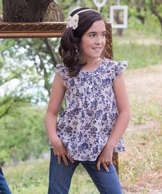 This Navy Linen Floral Top - Toddler & Girls by Sweet Charlotte is perfect! #zulilyfinds