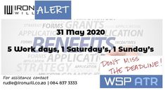 It is essential to submit your WSP/ATR not only for BEE purposes but also to access additional grants. We all know in times like these, every little bit helps.  #ironwill #wapandatr #bee #submit #southafrica