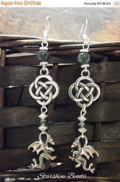ON SALE Moss Agate Celtic Dragon Earrings by StarshineBeads on Etsy! STOREWIDE SALE going on now through Dec 20, 2016!