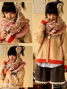 floral art patch knitted long scarf