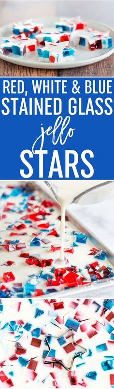 Red, White & Blue Stained Glass Jello Stars - A fun and easy treat for your 4th of July celebration! via @browneyedbaker