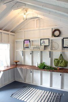 Bright and Light She Shed Makeover - F A R M H O U S E . M A D E - This shed has gone from cob-web central to farmhouse style she shed perfection. There's tons of storage, work space, and is now a light and airy she shed! Backyard Sheds, Outdoor Sheds, Garden Sheds, Backyard House, Backyard Landscaping, Fixer Upper, Shed Conversion Ideas, Garden Shed Interiors, Shed Office