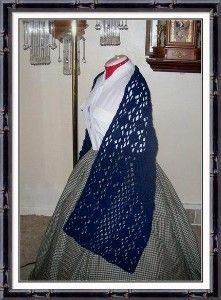 Civil War Reproduction Victorian Blue Shawl Handmade Crochet to Order