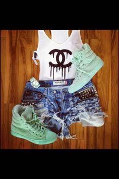 SOO Teen. Studded Shorts. High Tops. Teen Fashion. By-Lily Renee♥ follow (Iheartfashion14).