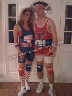 American Gladiators Couples Costume: We have had 12 Halloween Costume Parties and it is harder and harder every year to come up with something original! I searched and came up with this American