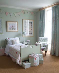 Susie Watson Designs - Susie Watson Designs Fabric Collection - A cream-grey wood bed with striped bedding, patterned bunting, a plain white armchair, white boxes and dark grey curtains Childrens Bedroom Furniture, Kids Bedroom, Bedroom Decor, Bedroom Ideas, Casa American Girl, Shabby Chic Bedrooms, Kids Room Design, Gray Bedroom, Little Girl Rooms