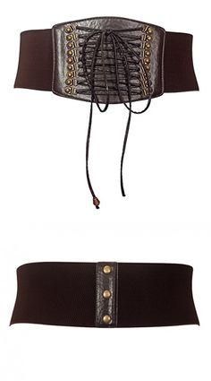 Women Black Braided Faux Leather Fashion Hip High Waist Belt Double Buckle S M L
