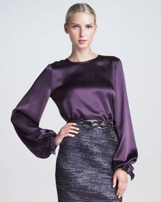 Womens Bowcuff Silk Satin Blouse - Lyst