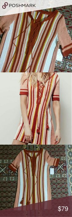 """Free People Endless Summer Beach Bunny Knit Cutest lace up knit mini dress with hot beach babe 70s vibes Size xs New with tag Rp $128+tax Length approx 31"""" Tags FP tunic boho surfer surf hippie vacation resort Free People Dresses Mini"""