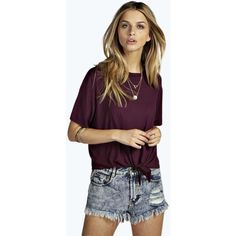 Boohoo Yazzmin Tie Front T Shirt ($16) ❤ liked on Polyvore featuring tops, t-shirts, berry, off the shoulder tops, off shoulder crop top, purple kimono, off the shoulder crop top and off shoulder t shirt