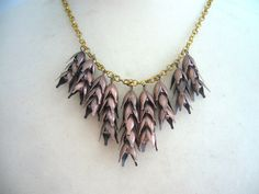 Wheat statement necklace in bronze autumn necklace by stavroula