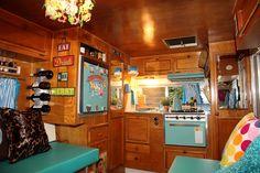 Interior of vintage trailer