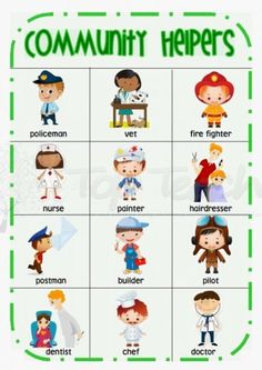 community helpers desk chart
