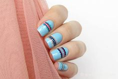 56 Ideas para que pintes tus uñas color celeste - light blue nails | Decoración de Uñas - Nail Art - Uñas decoradas - Part 6