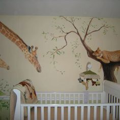 Jungle room! Amazing mural. Like giraffe looking down at baby