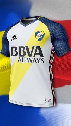 Adidas Football, Football Jerseys, Boca Jr, Sport Shirt Design, Barcelona Futbol Club, Sport Wear, Sports Shirts, Motorcycle Jacket, Shirt Designs