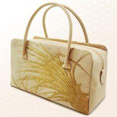 【和装バッグ】正絹唐織生成白金稲穂礼装用
